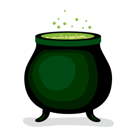 brew: Dark witch magic cauldron with green brew potion boiling bubbling