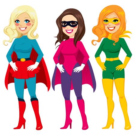 super human: Tres mujeres diferentes que presentan en superh�roe equipar listo para la fiesta de Halloween Vectores