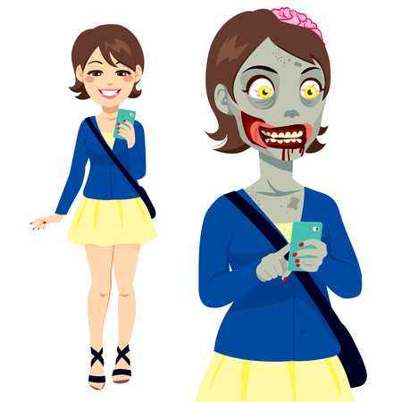girl at phone: Girl walking and texting with smartphone and turning into a zombie Illustration