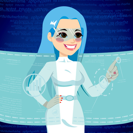 futuristic woman: Young woman using futuristic user interface technology selecting options on advanced touch computer virtual screen display projection
