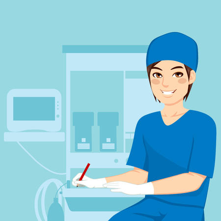Young attractive male nurse working writing near anesthetist medical equipment machine Vector