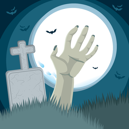 rising dead: Zombie hand rising from the grave on cemetery ground in front of tombstone with full moon on background
