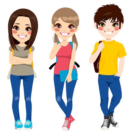 Drie jonge tieners glimlachen gelukkig samen staan ??klaar om terug te gaan naar school met rugzakken en notebooks Stockfoto - 32144420
