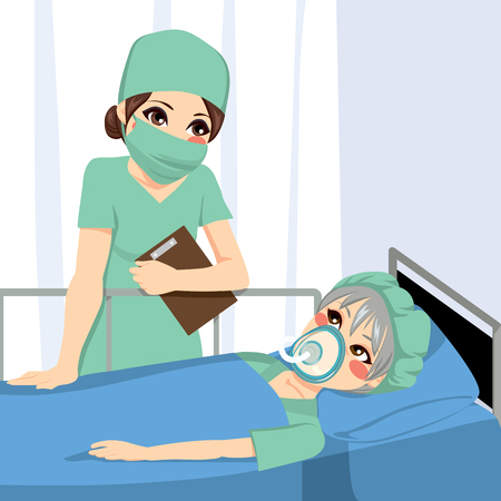 Nice female anesthetist nurse talking with old senior woman patient before surgery