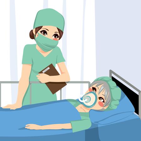 mujer acostada en cama: Niza enfermera anestesista mujer hablando con el viejo paciente de alto antes de la cirug�a
