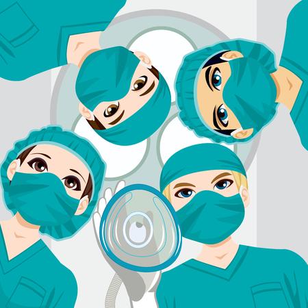 Equipe medica lavorando su un intervento chirurgico e medico in possesso di maschera d'ossigeno verso il paziente Archivio Fotografico - 32144423