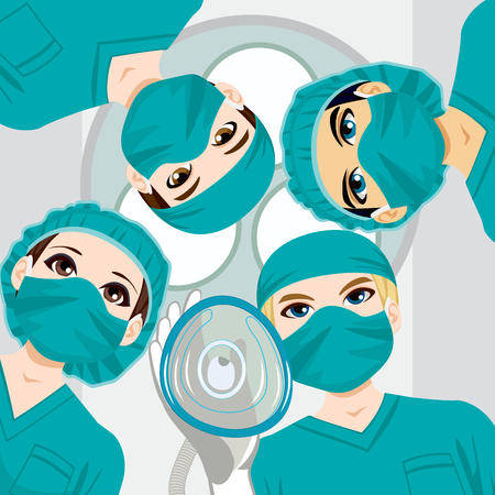 Medical team working on a surgery and doctor holding oxygen mask towards patient Ilustracja