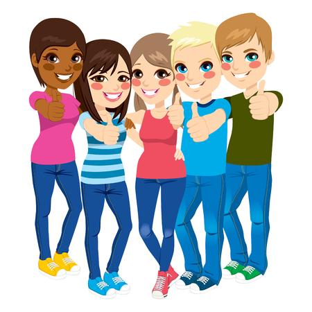 gestos: Cinco adolescentes j�venes felices de pie y haciendo pulgares arriba gesto positivo