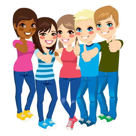 Five happy young teenagers standing and making positive thumbs up gesture Ilustracja