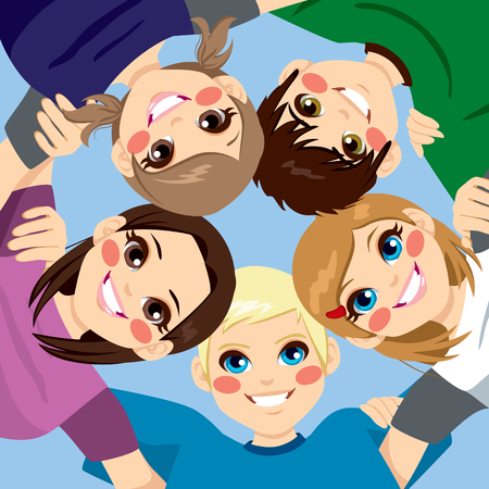 Five happy young smiling teenagers embracing together in circle from low angle view Vectores