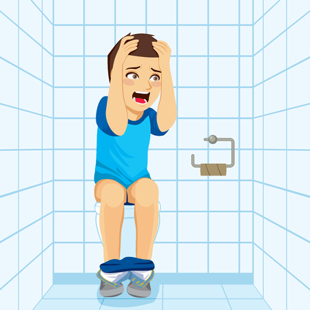 Young surprised man making shocked scared expression after noticing there is no paper on public toilet