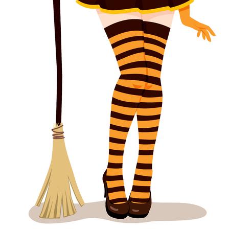 mini falda: Primer plano de las piernas de mujer sexy en traje de bruja de Halloween con la mini falda, naranja y rayas medias negras, zapatos de tac�n y una escoba Vectores
