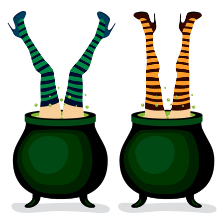 Witch legs coming out from inside of magic cauldron in different poses and stockings color Vector