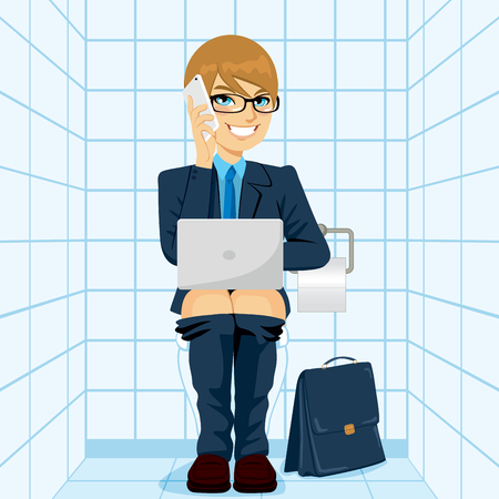 man using computer: Young workaholic businessman working happy with laptop talking with smartphone while using toilet Illustration