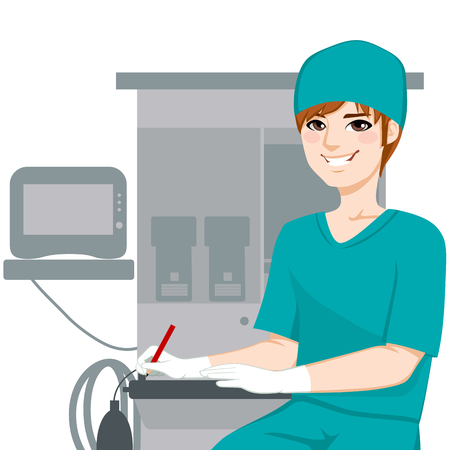 writing equipment: Young male nurse working writing documents in front of anesthetist medical equipment machine Illustration