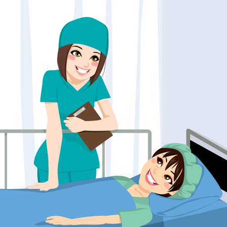 Nice female nurse talking with young woman patient lying on bed before surgery