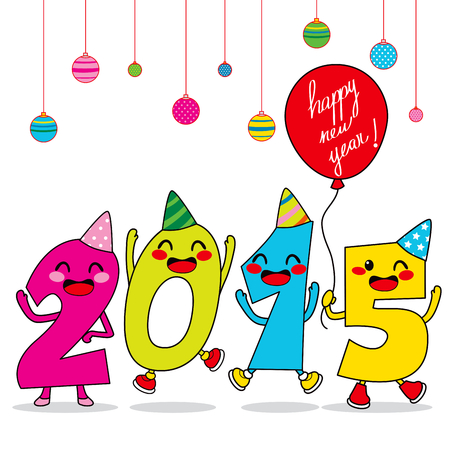 Year 2015 cartoon number characters celebrating happy new year party Vector