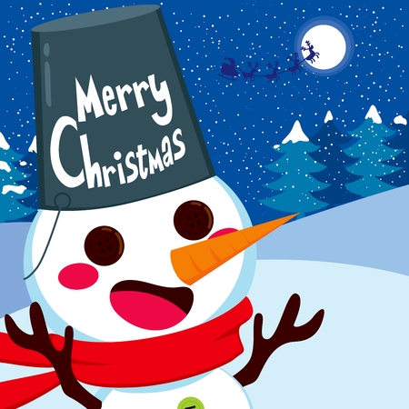 Cute happy snowman with big bucket as hat and Merry Christmas text Vector