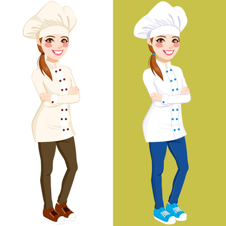 sorriso donna: Fiducioso donna chef in piedi con le braccia incrociate che indossa una cottura uniforme, jeans e scarpe da ginnastica in due versioni colore