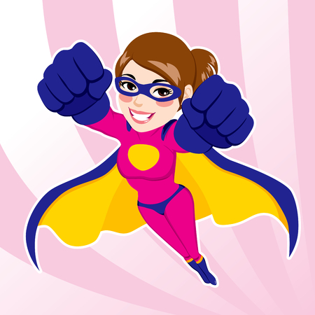 Illustration of beautiful fit woman in superhero costume flying