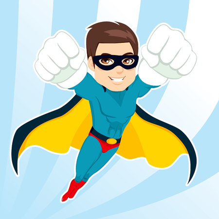 Illustration of handsome muscular strong man in superhero costume flying Vectores