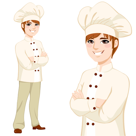 man full body: Young chef man in beige uniform standing with arms crossed