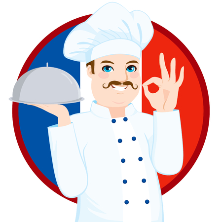 french culture: French cuisine chef with funny big mustache holding silver tray gesturing ok sign in front of French flag