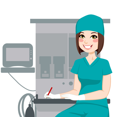Young female nurse working writing documents in front of anesthetist medical equipment machine
