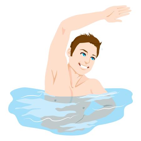 aerobics class: Athletic Man smiling happy exercising at swimming pool