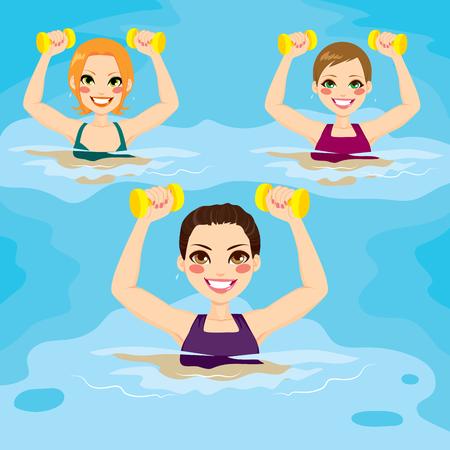 아쿠아: 수영장에서 아령 아쿠아 체육관 운동을하는 여성의 작은 그룹