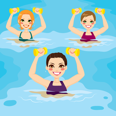 Small group of women making aqua gym exercises with dumbbells at swimming pool Çizim