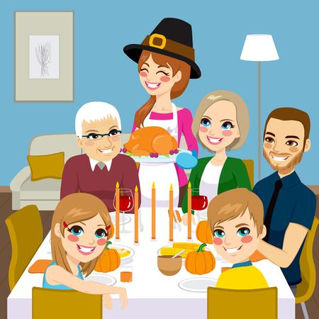 Familia feliz que cena de acción de gracias junto con mamá sirviendo pavo asado tradicional