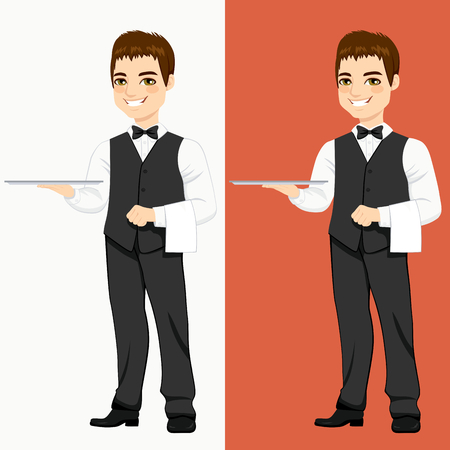 Young handsome waiter standing with empty silver tray in two different color versions