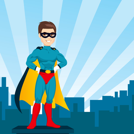 Illustration of powerful strong man hands on hips pose with hero costume watching city skyline Ilustracja