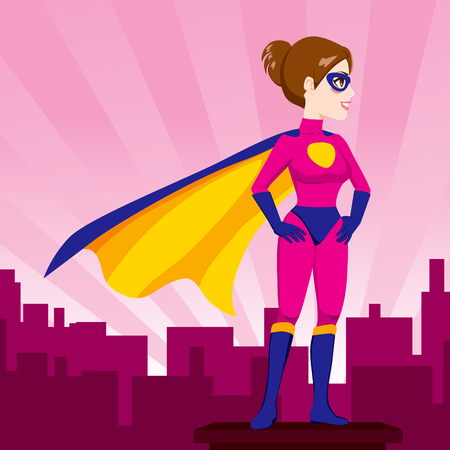 Illustration of sexy beautiful woman hands on hips pose with hero costume watching over city skyline Vector