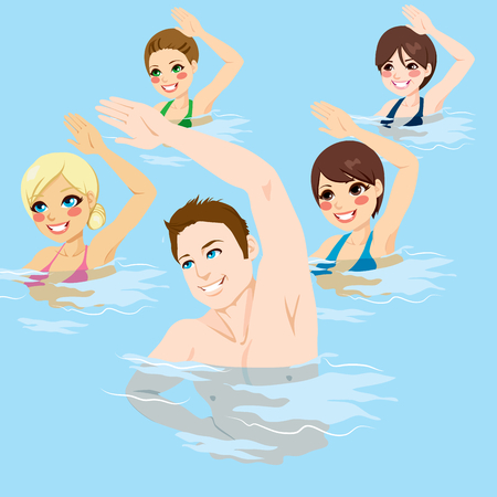 Small group of people making aqua gym exercises with hands up at swimming pool