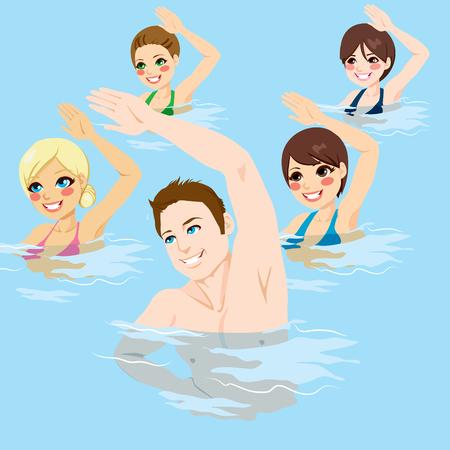 Pequeño grupo de personas que hacen ejercicios de gimnasia acuática con las manos en la piscina Ilustración de vector