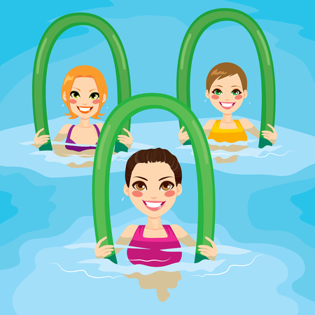 Pequeño grupo de mujeres que hacen ejercicios de gimnasia acuática con rodillos de espuma en la piscina en el centro de ocio