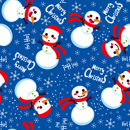 Seamless Christmas Snowman with Santa hat background pattern tiling texture Vector