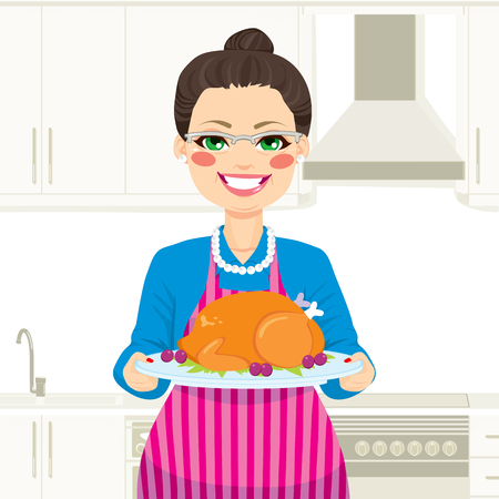 thanksgiving dinner: Lovely senior woman cooking traditional thanksgiving turkey