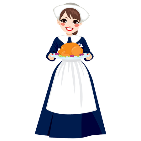 Beautiful young woman in traditional thanksgiving pilgrim costume holding tray with roasted turkey Ilustrace