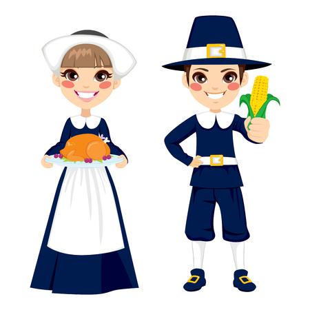 pilgrim: Two cute little children in pilgrim costume holding turkey and corn to celebrate Thanksgiving day Illustration