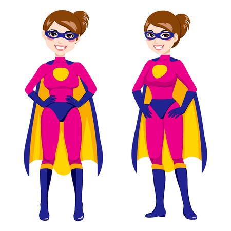 Ilustración de la mujer atractiva en el frente y lado posan con traje rosado héroe