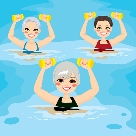 Small group of senior women making aqua gym exercises with dumbbells in swimming pool at the sports center