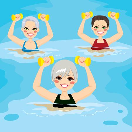 gimnasia aerobica: Peque�o grupo de mujeres mayores que hacen ejercicios de gimnasia acu�tica con pesas en piscina en el centro deportivo