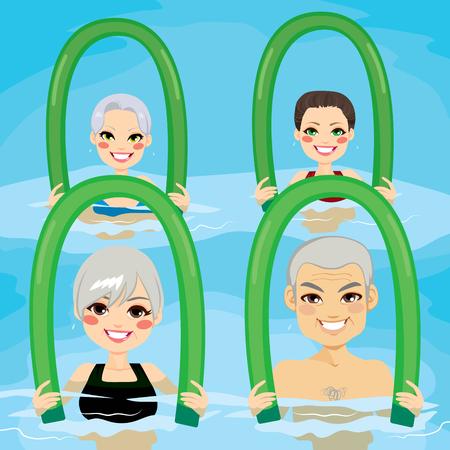 hombres haciendo ejercicio: Pequeño grupo de personas mayores que hacen ejercicios de gimnasia acuática con rodillos de espuma en la piscina en el polideportivo Vectores