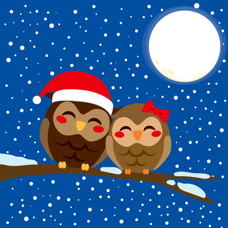 Cute owl couple in love perched together on a tree branch in Christmas snow night with full moon background Vector