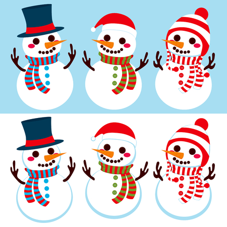 Three cute different happy snowmen wearing hats and scarfs in winter in two different background color versions Vector