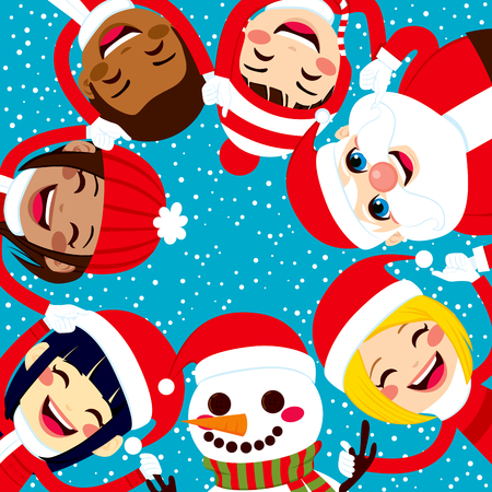 Multiracial group of happy smiling children with Santa Claus and Snowman holding hands together in circle Vector