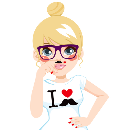 making face: Funny blonde hipster girl making faces pretending to have fake mustache in finger wearing white shirt with I love mustache print design and glasses